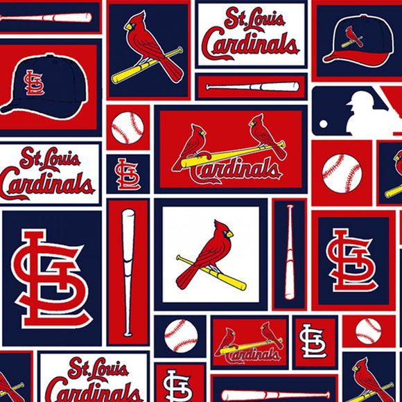 St. Louis Cardinals Fabric by the Yard or Half Yard, MLB Licensed, Cotton