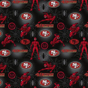 San Francisco 49ers, Marvel Spider-Man Fabric by the Yard or Half Yard, Licensed NFL Cotton Fabric
