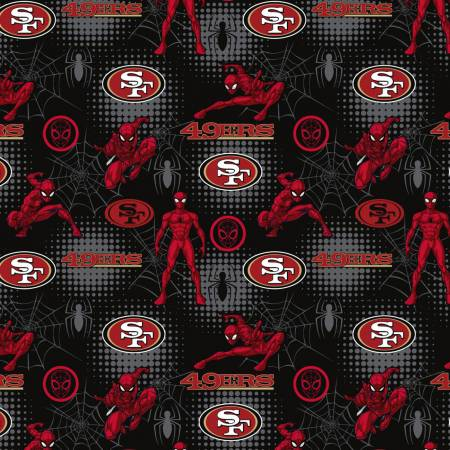 San Francisco 49ers, Marvel Spider Man Fabric by the Yard or Half Yard, Licensed NFL Cotton Fabric