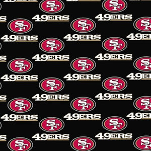 San Francisco 49ers Fabric by the Yard or Half Yard, Licensed NFL Cotton Fabric