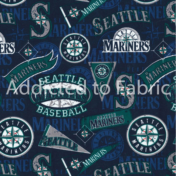 Seattle Mariners Fabric by the Yard or Half Yard, Licensed MLB, Cotton Fabric, Vintage