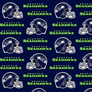 Seattle Seahawks Fabric by the Yard or Half Yard, Licensed NFL Cotton Fabric