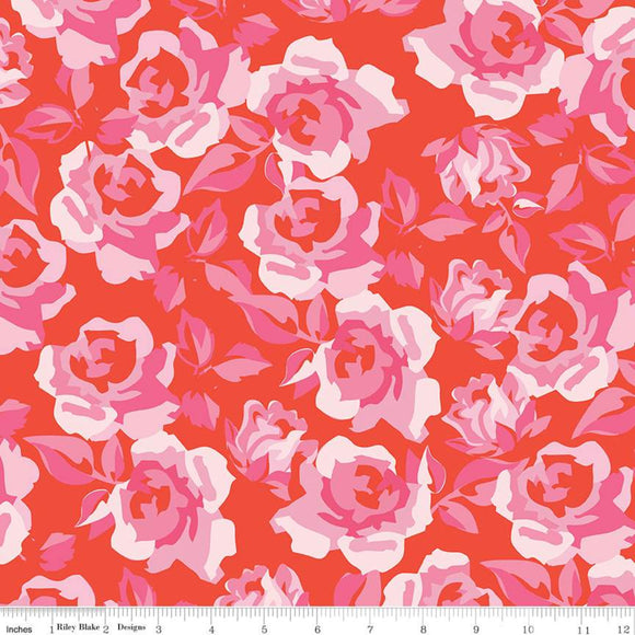 Sending Love Main Roses Valentine Fabric by the Yard, Half Yard, Riley Blake, Red