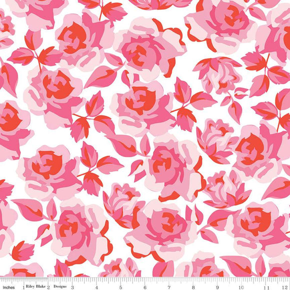 Sending Love Main Roses Valentine Fabric by the Yard, Half Yard, Riley Blake Designs, White
