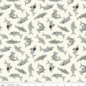 Shark Fabric by the Yard or Half Yard, Riley Blake Designs, Pirate Tales, Cream