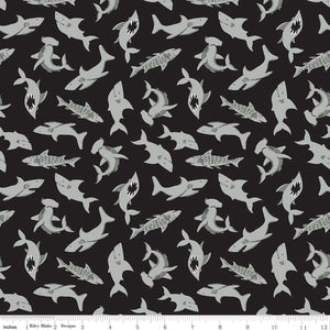 Shark Fabric by the Yard or Half Yard, Riley Blake Designs, Sharks Black, Pirate Tales