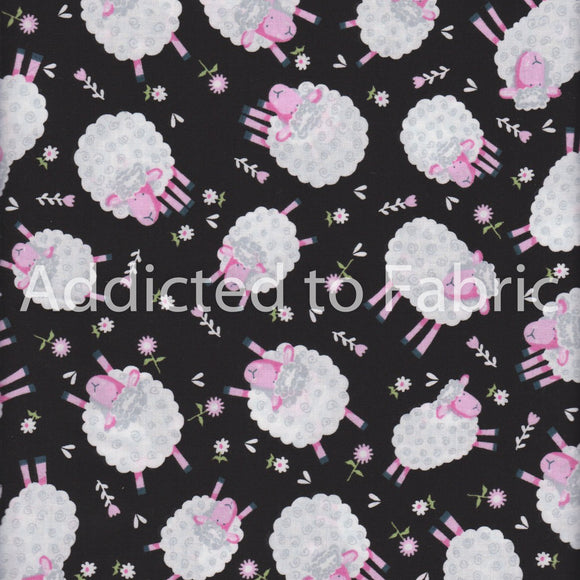 Silly Sheep Fabric by the Yard, Half Yard, Lamb, Fabric Traditions, Black, Santee Collection
