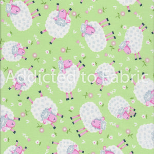 Silly Sheep Fabric by the Yard, Half Yard, Lamb, Fabric Traditions, Green, Cotton