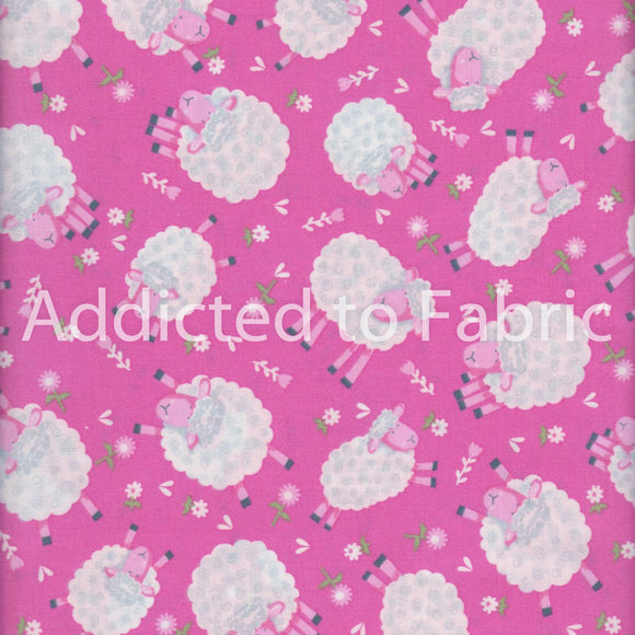 Silly Sheep Fabric by the Yard, Half Yard, Lamb, Fabric Traditions, Pink, Cotton Fabric