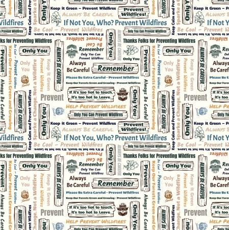 Smokey Bear Signs, Fabric by the Yard, Half Yard, Cloud, Riley Blake, Ranger