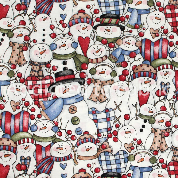 Dianna Marcum for Marcus Brothers, Snowmen, Christmas Fabric by the Yard, by the Half Yard