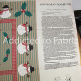 "Wamsutta ""Snowman Sampler"" Fabric Panel, Christmas Wall Hanging Panel, Fabric by the yard, half yard"