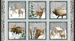 "Snowy Woods Panel 24"" Fabric Quilt Panel by Henry Glass, Bears, Moose, Elk"