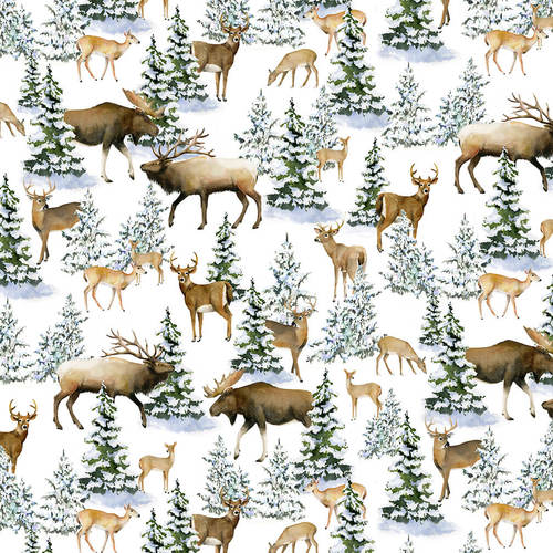 Snowy Woods, Multi Animal Scenic Fabric by the Yard, Half Yard, Henry Glass, Moose, Deer