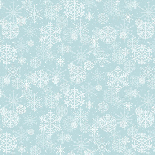 Snowy Woods, Aqua Snowflakes Fabric by the Yard, Half Yard, Henry Glass