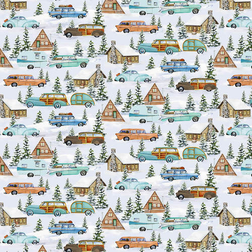 Snowy Woods, Cars, Campers and Cabins Fabric by the Yard, Half Yard, Henry Glass