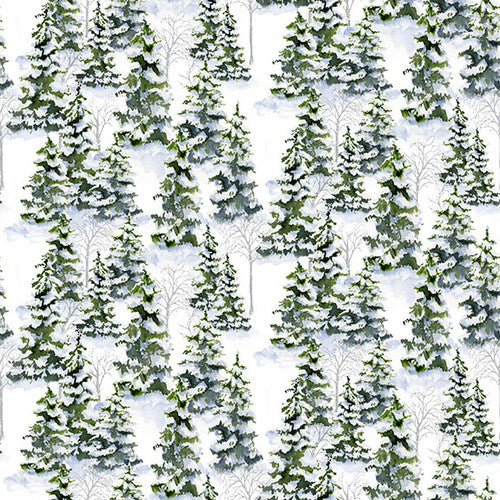 Snowy Woods, Green Winter Forest Fabric by the Yard, Half Yard, Henry Glass