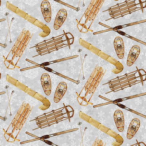 Snowy Woods, Sled and Skis Fabric by the Yard, Half Yard, Henry Glass, Mountain Cabin Decor