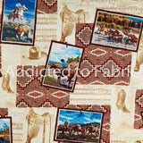 Southwestern Cowboy Fabric by the Yard and Half Yard, Mountain Pass, Horses, Western