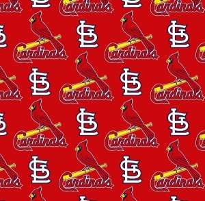 St. Louis Cardinals Fabric by the Yard or Half Yard, Licensed MLB, Cotton Fabric, Red
