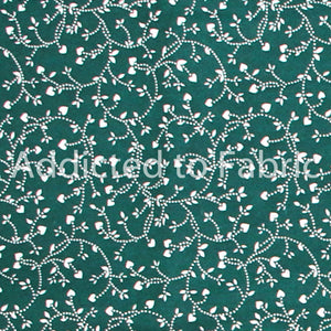 Green with Tiny White Hearts, Fabric by the Yard, Fabric by the Half Yard