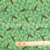 St. Patrick's Day Fabric by the Yard or Half Yard, Clovers and Leprechaun Hats
