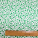 St. Patrick's Day Fabric by the Yard or Half Yard, Green Clover on White