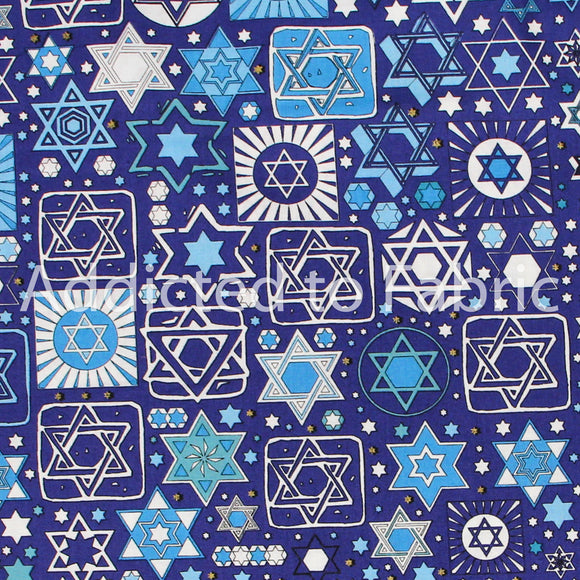 Hanukkah, Star of David Fabric by the Yard or Half Yard, Navy Blue, Cotton