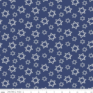 Festival of Lights Fabric by the Yard or Half Yard, Star of David, Blue, Hanukkah