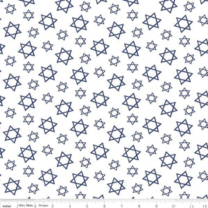 Festival of Lights Fabric by the Yard or Half Yard, Star of David, White, Hanukkah