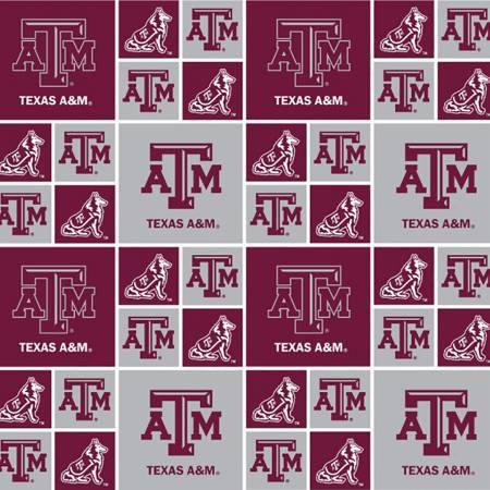 Texas A&M Aggies Fabric by the Yard, Fabric by the Half Yard, Block Print