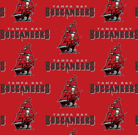 Tampa Bay Buccaneers Fabric by the Yard or Half Yard, NFL Cotton Fabric