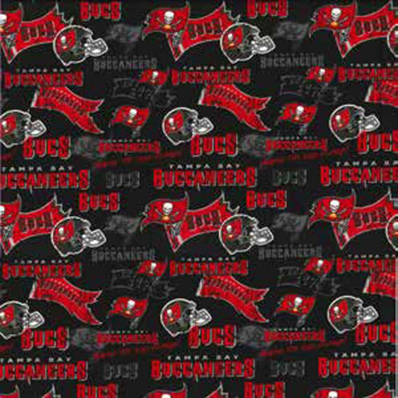 Tampa Bay Buccaneers Fabric by the Yard or Half Yard, NFL Cotton Fabric, Retro 44