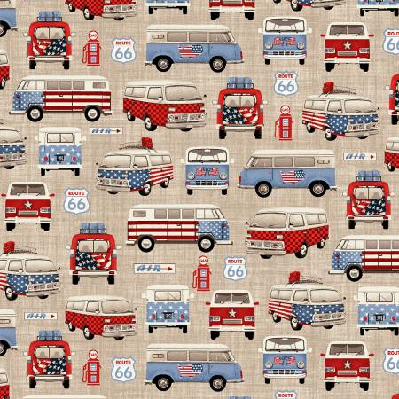 All American Road Trip, Fabric by the Yard or Half Yard, Tan Vans, Patriotic, Volkswagen
