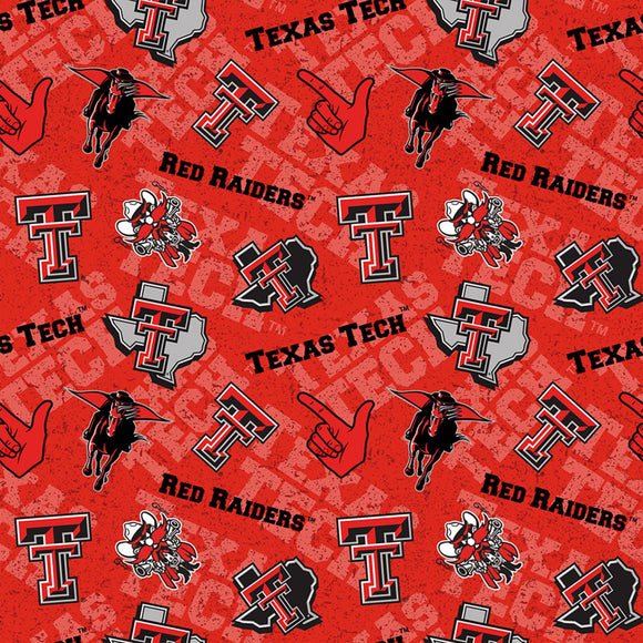 Texas Tech University Fabric by the Yard, Fabric by the Half Yard, Red Raiders