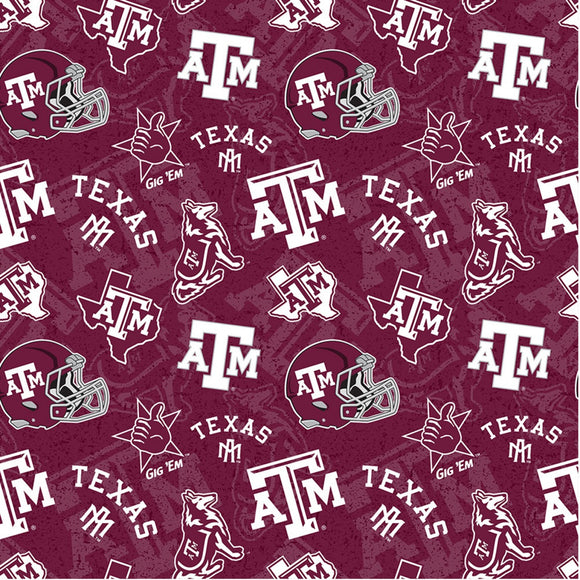 Texas A&M Aggies Fabric by the Yard, Fabric by the Half Yard, Tone on Tone