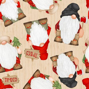 Timber Gnomies, Beige Gnomes Fabric by the Yard or Half Yard, Henry Glass