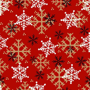 Timber Gnomies, Red Snowflakes Fabric by the Yard or Half Yard, Henry Glass, Gnome