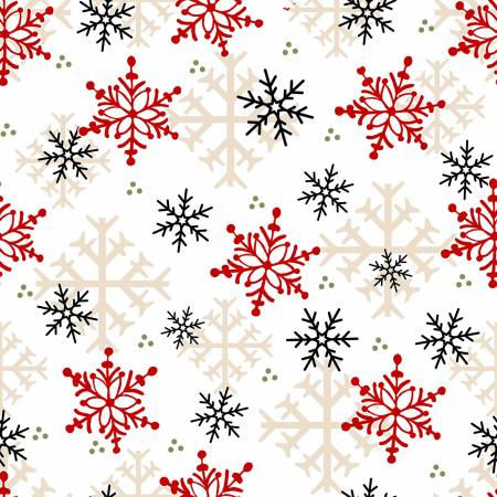 Timber Gnomies, White Snowflakes Fabric by the Yard or Half Yard, Henry Glass, Gnome