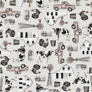Buttermilk Farmstead Fabric by the Yard or Half Yard, Ecru Tossed Farm Icons
