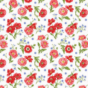 Poppies on White Fabric by the Yard or Half Yard, Henry Glass, Poppy Meadow