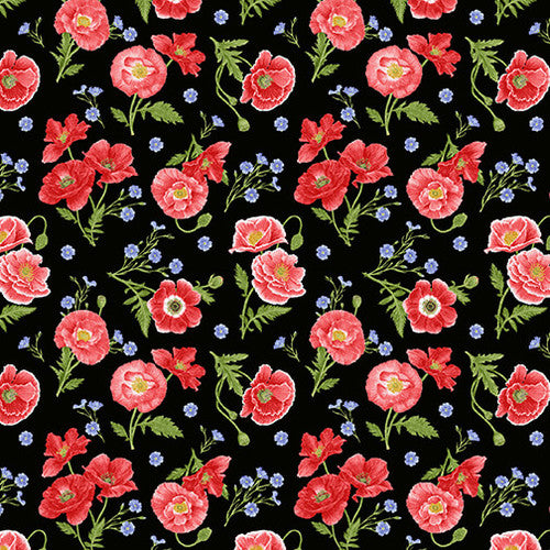 Poppies on Black Fabric by the Yard or Half Yard, Henry Glass, Poppy Meadow