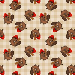Timber Gnomies, Tossed Beavers Fabric by the Yard or Half Yard, Henry Glass, Gnome