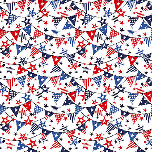Truckin' in the USA, Patriotic Mini Banners Fabric by the Yard