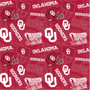 University of Oklahoma Fabric by the Yard or Half Yard, OU, Sooners Tone on Tone