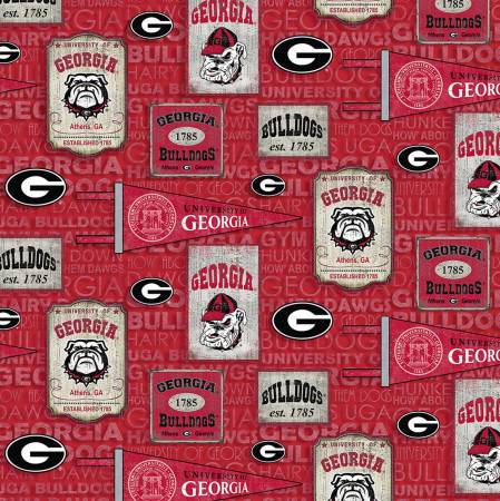 University of Georgia Bulldogs Fabric by the Yard or by Half Yard, Vintage Pennants