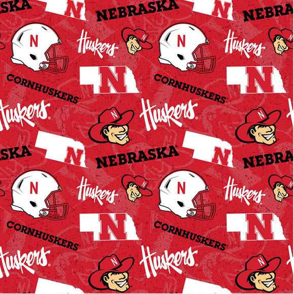 University of Nebraska, Cornhuskers Fabric by the Yard, Fabric by the Half Yard