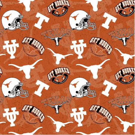 University of Texas, Longhorns Fabric by the Yard, Half Yard, UT, Tone on Tone