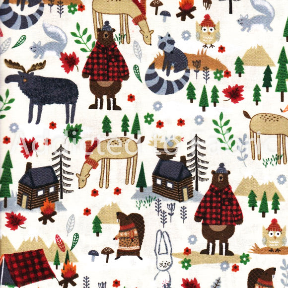 Camping Mix, Vacation Fabric by the Yard, Fabric by the Half Yard, Bears, Woods