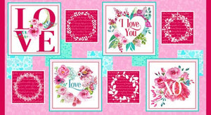 Henry Glass, Love Letters 24in Block Panel, Valentine Fabric Panel Blocks